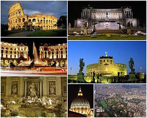 Italiano: Collage di vari immagini di Roma.