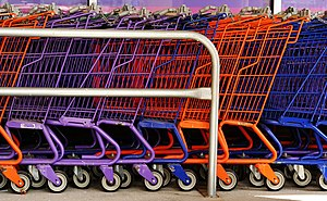 A row of shopping carts.
