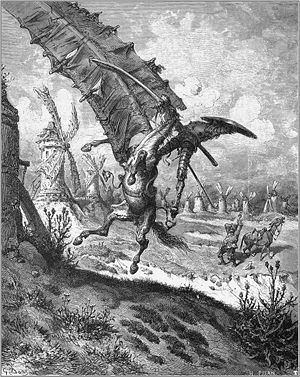 Don Quixote fighting a windmill on hi...