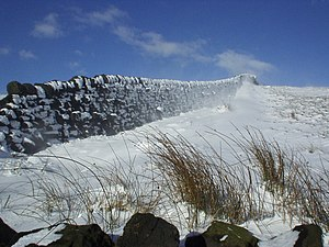 English: Dry stone walls in the snow - on the ...