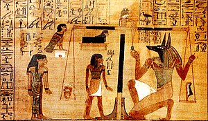 Weighing-of-the-heart scene from Egyptian Book...