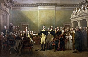 Depiction by John Trumbull of Washington resig...