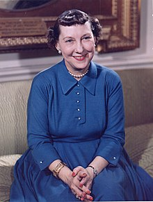Mamie Eisenhower color photo portrait, White House, May 1954.jpg