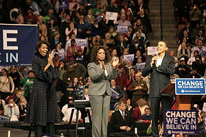 Michelle Obama, Oprah Winfrey and Barack Obama...