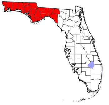 English: Map of Florida Panhandle