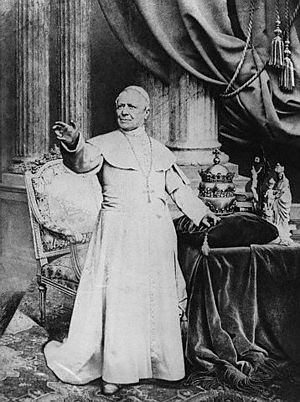 English: Pope Pius IX standing in front of his...