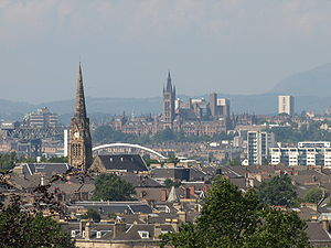 A view over Glasgow from Queen's Park in the c...