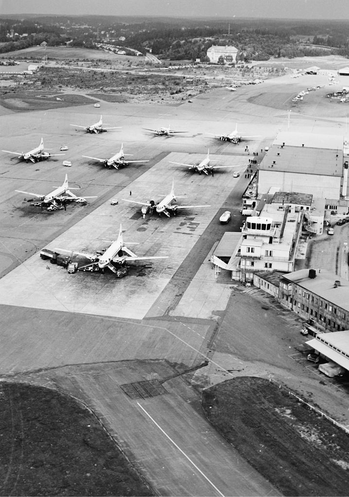FileView over aircrafts parked at Bromma International Airport BMA Stockholm 19630914jpg