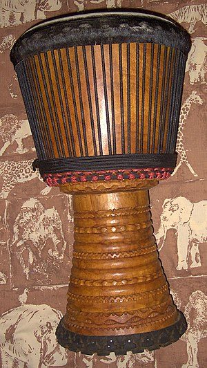 A Lenke wood djembe from Guinea in west Africa