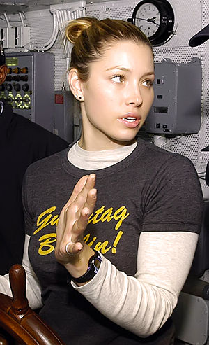 Actress Jessica Biel receives instructions on ...