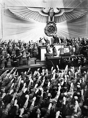Members of the Reichstag salute Hitler at the ...