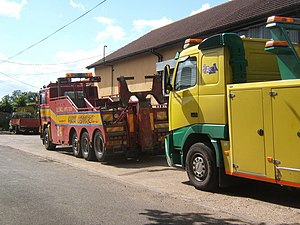 Colourful Volvo F12 and FH12 recovery vehicles...
