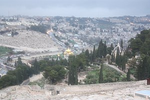 East Jerusalem from the Mount of Olives in the...