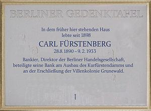 Deutsch: Berliner Gedenktafel, Carl Fürstenber...