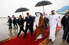 Khalifa and U.S. President George W. Bush at Abu Dhabi International Airport, 13 January 2008