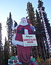 "English: large wooden Santa Claus and ""no..."