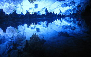 Lake inside the Reed Flute Cave.