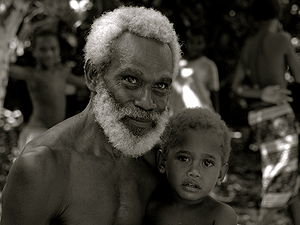 A man with his grandson in East New Britain, P...