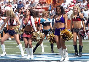 Cheerleaders entertain the fans during the gam...