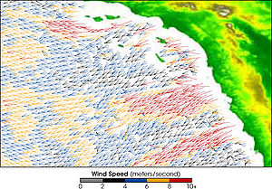 QuikSCAT image of the Santa Ana Winds, showing...
