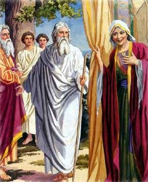 English: Sarah and Abraham hosting three angels