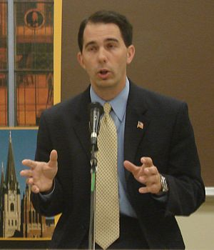 Scott Walker in 2007 at Marquette University a...