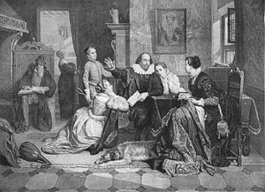 illustration of William Shakespeare reciting h...