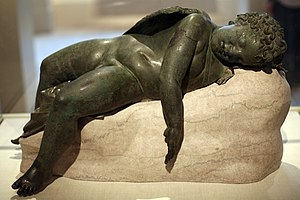 Bronze statue of Eros sleeping, 3rd century BC...