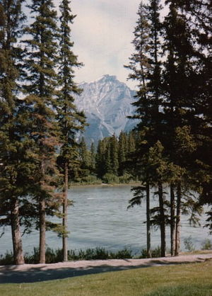 Bow River and Cascade Mountain, Banff National...