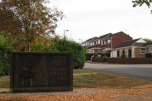 English: Commemorative wall, Blandford Way, Ha...