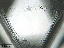 A triangular facet of a crystal having triangular etch pits with the largest having a base length of about 0.2 mm