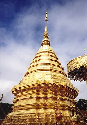 The chedi at Wat Phrathat Doi Suthep, in Chian...