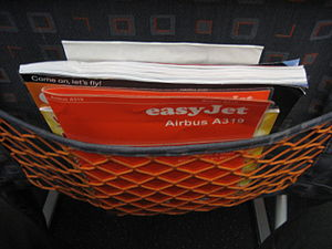 Seat pocket on an easyJet A319, showing safety...