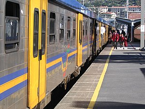Kalk Bay station, Cape Town, South Africa. A r...