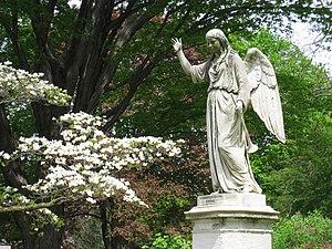 Angel sculpture in Mount Auburn Cemetery, Camb...