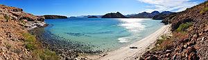English: 180° Panorama on Playa Santispac of B...