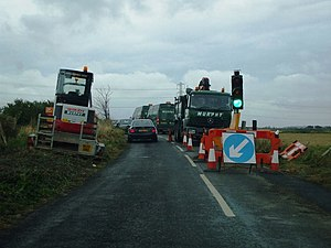 English: Roadworks near Graveney Hill Although...