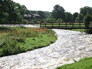 English: The Lyvennet river in full flow.