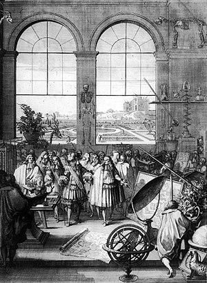 Louis XIV visiting the  Académie des sciences ...