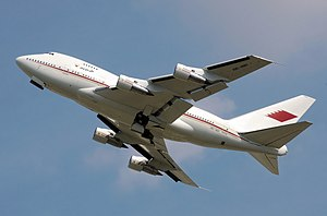Bahrain Royal Flight 747SP climbing with landi...