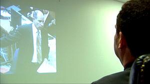 English: Juan J. Dominguez watching lawyer Dua...