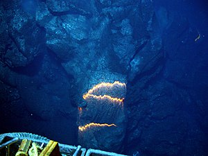 Bands of glowing magma, about 2,200 degrees Fa...