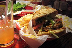 English: Bleu Ribbon Veggie Burger at Red Robi...