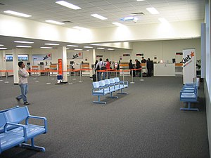Check in counters at Avalon Airport