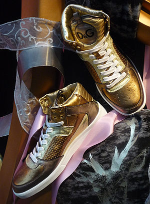 Golden Sneakers by Dolce & Gabbana, Italy.