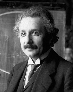 Albert Einstein during a lecture in Vienna in ...