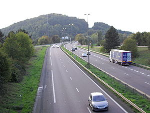English: Motorway A30, in Florange, Moselle, F...