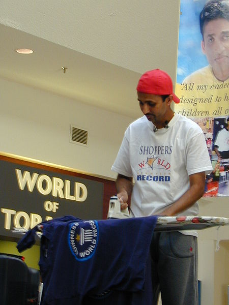 Suresh Joachim, minutes away from breaking the ironing world record at Shoppers World Brampton.