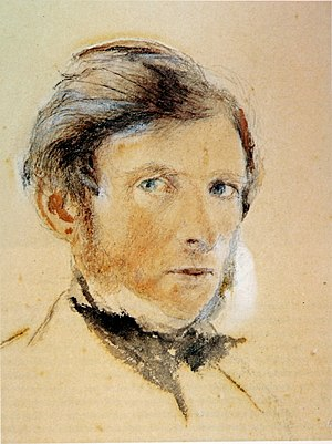 John Ruskin, self portrait, watercolour touche...