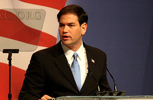 Rubio speaking at CPAC in February 2010.